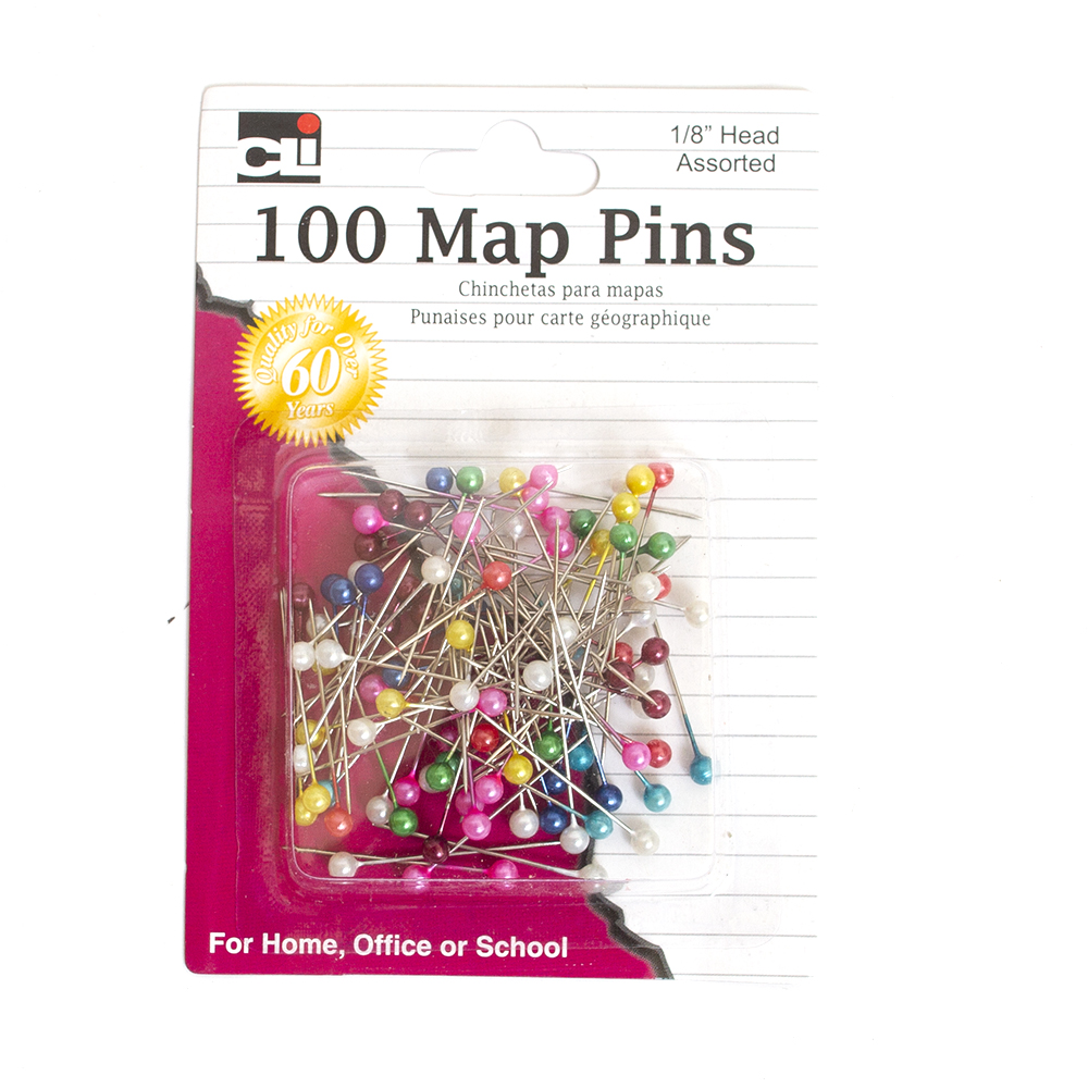 Assorted colors, Leonard, Map Pins