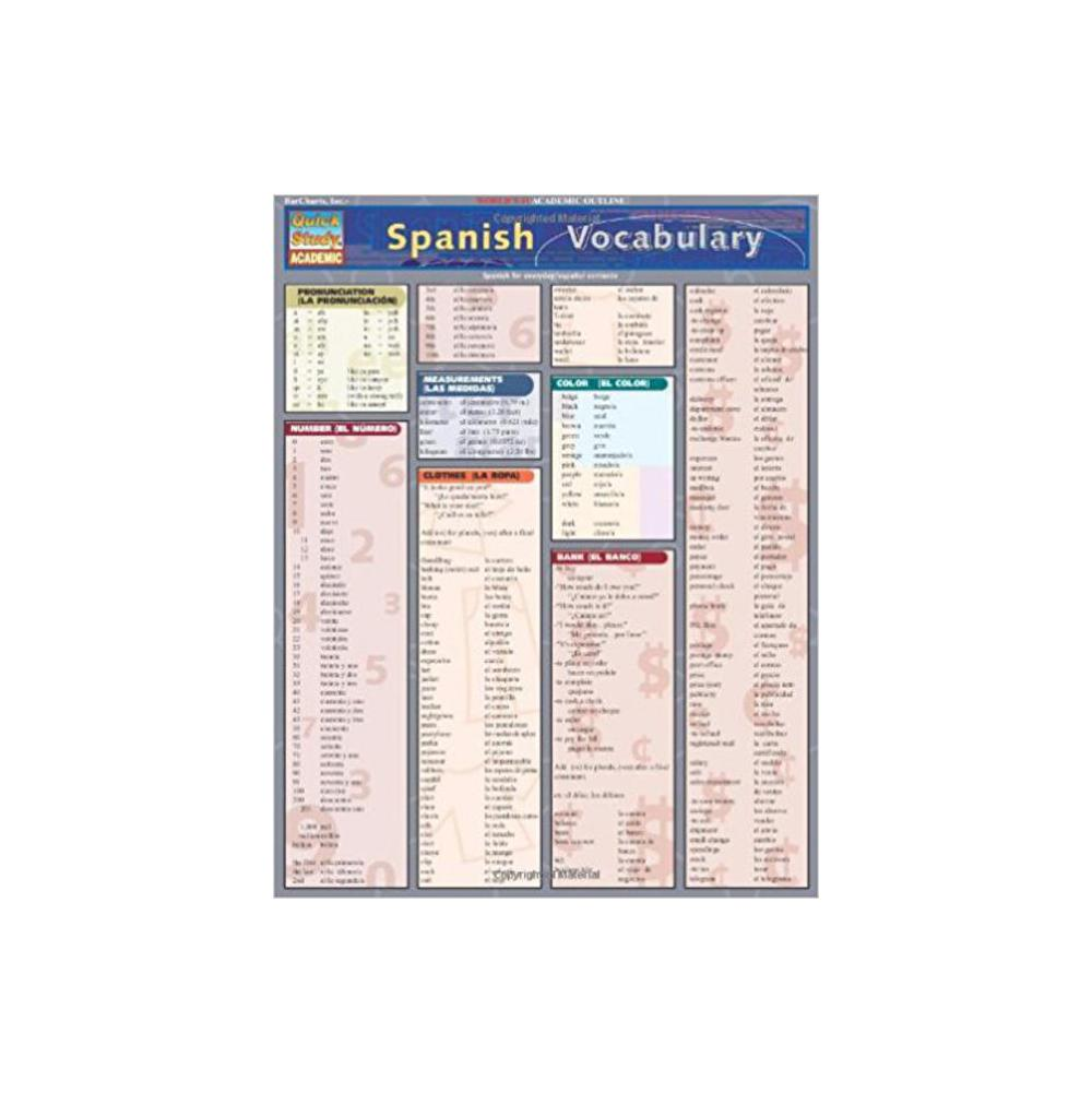 Barchart, Study Guide, Spanish Vocabulary