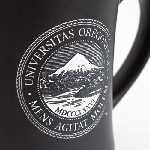 Black School Seal Etched Mug
