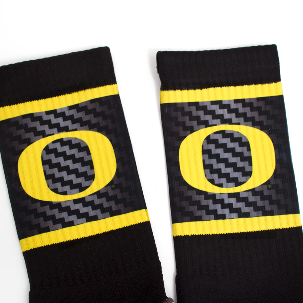 Black Strideline Crew w Yellow and Grey Grid Sock