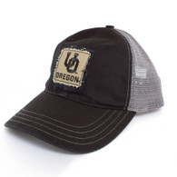 1646ec94c99d2 Black Washed Trucker with Interlock UO on Distressed Patch Hat