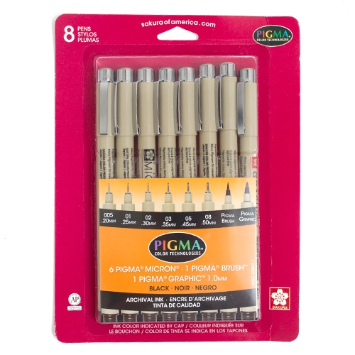BlackSakura Pigma Micron Pen 8ct set (005,01,02,03.05,08)