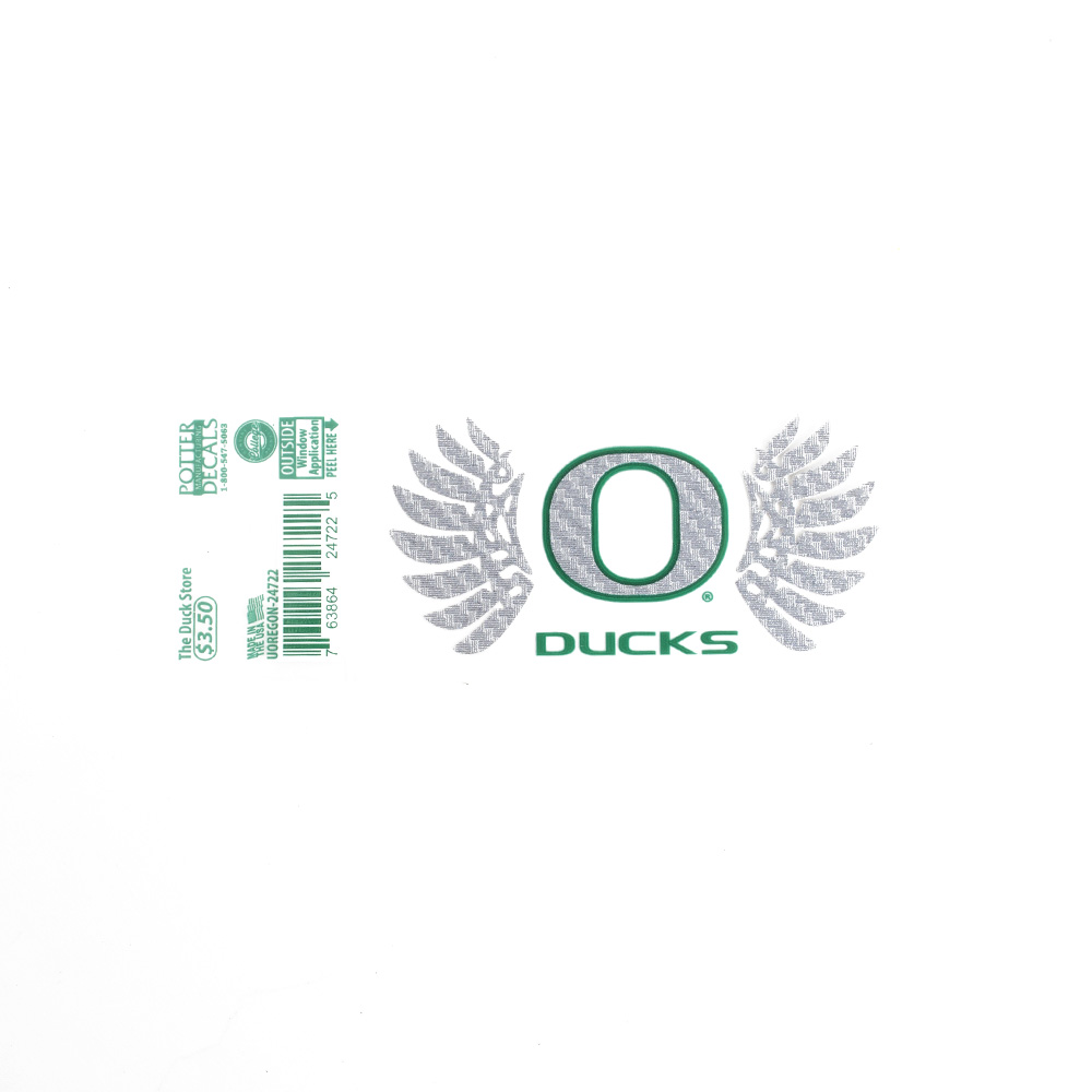 "Classic Oregon O, Wings, 3"", Decal"