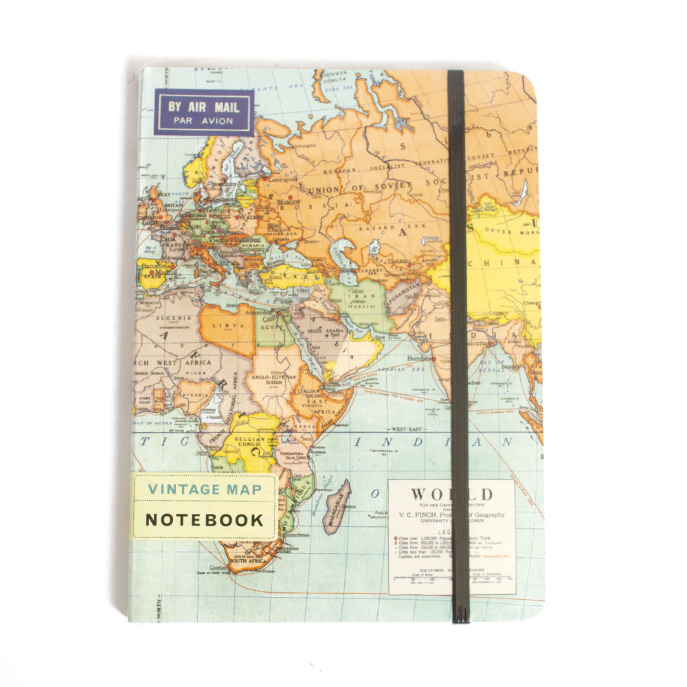 Cavallini, Large, Notebook, World Map