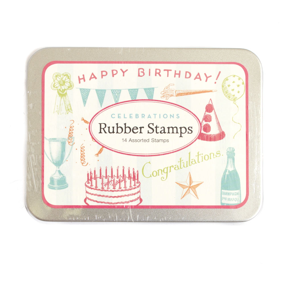 Cavallini, Rubber Stamp, Set, Celebrations