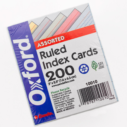 Colored Oxford Mini Index Cards