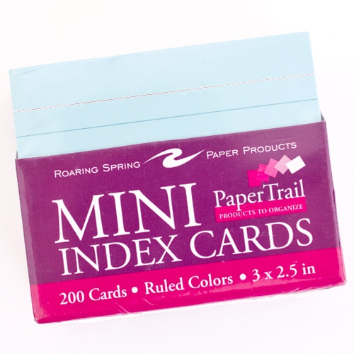 Colored Roaring Springs Mini Ruled Index Cards