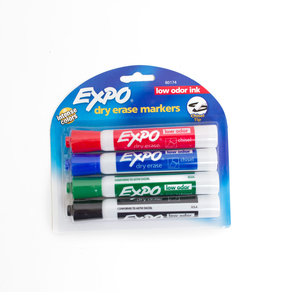 EXPO Low Odor Dry Erase Markers Chisel 4pk Clamshelled