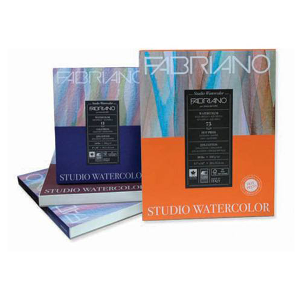 Fabriano, Studio, 140, HotPress, Watercolor Pad, 300gm, 12 Sheets