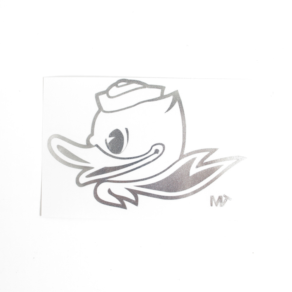 Fighting Duck 1-Color 4 Decal Vinyl Transfer_Silver