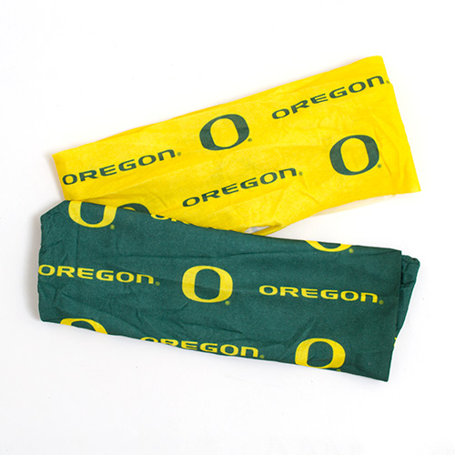 Forest Green and Yellow O Oregon Stretch Hair Ties 2 Pack