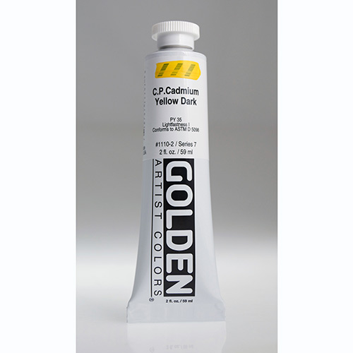 Golden Heavy Body Acrylic Paint 2oz_Cadmium Yellow Dark