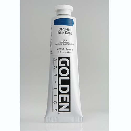 Golden Heavy Body Acrylic Paint 2oz_Cerulean Blue Deep-1