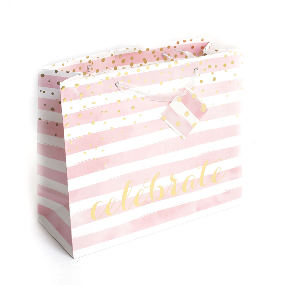 Graphique, Giftbag, Pink Stripes, Celebrate