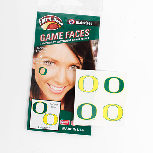 Green and Yellow O Waterless Face Tattoo