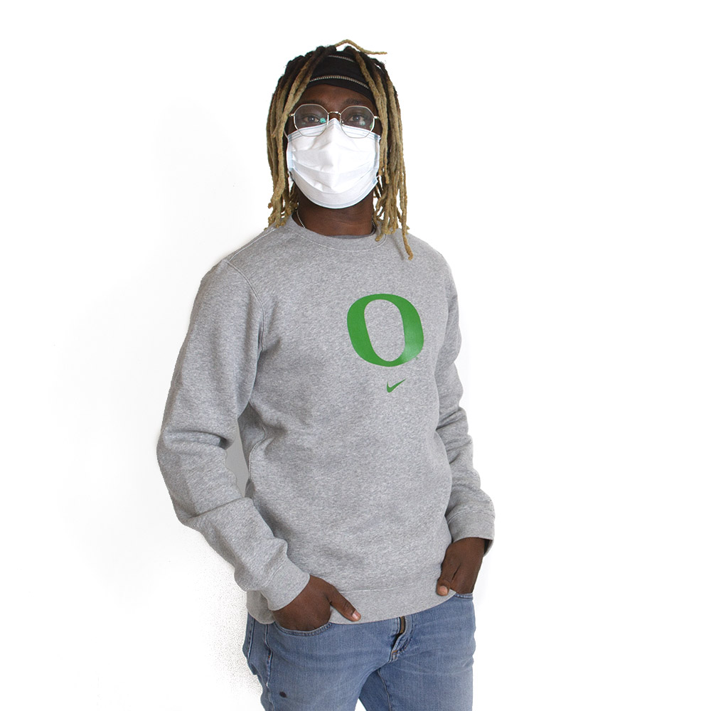 Classic Oregon O, Nike, Club Cotton, Fleece, Crew, Pullover
