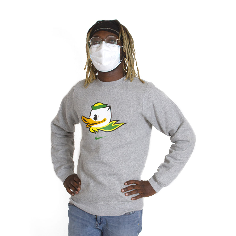 Fighting Duck, Nike, Club Cotton, Fleece, Crew, Pullover