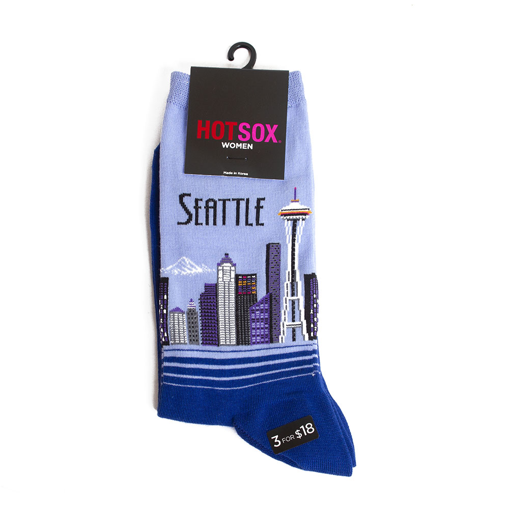 HotSox, Women's, Novelty Sock, Crew, Seattle, Blue