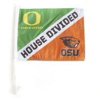 Classic Oregon O, OSU Mascot, House Divided, Car Flag