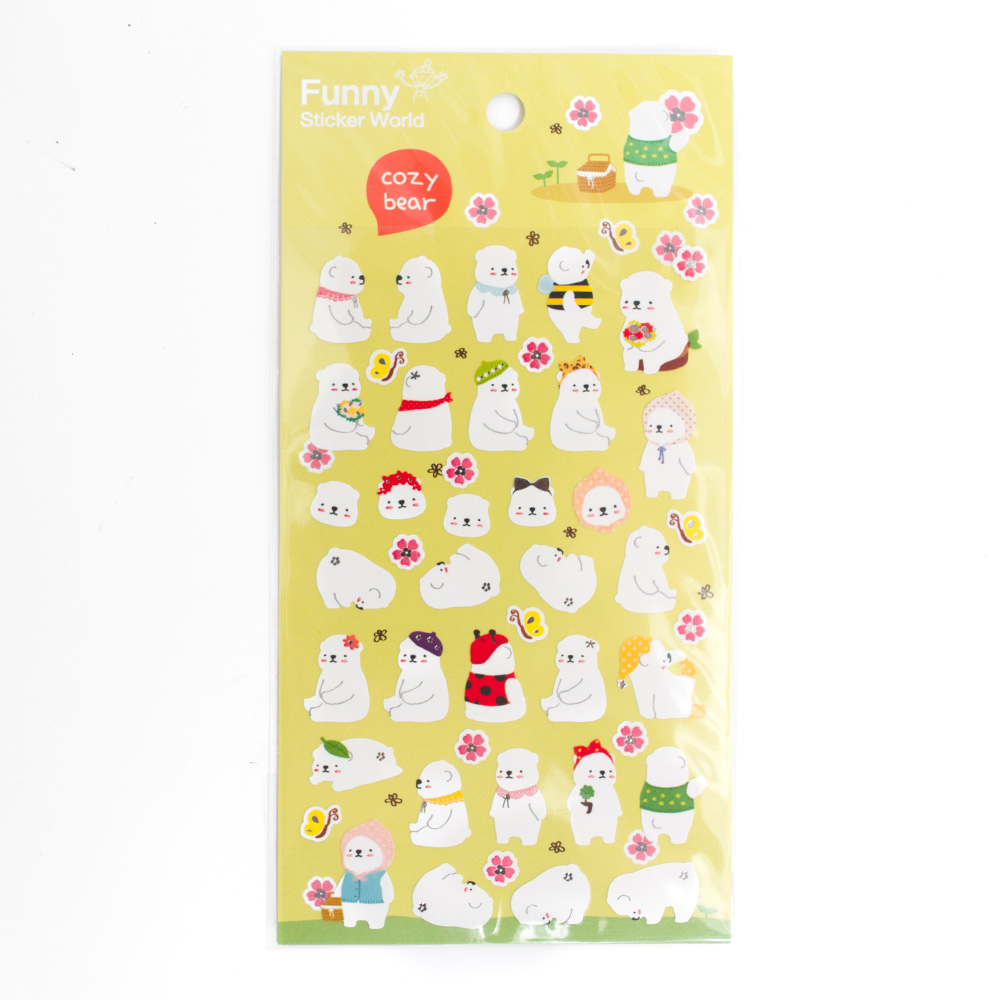 Iwako Japanese Funny Stickers Cozy Bear