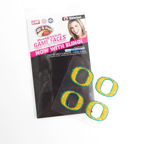 O-logo, 4 pack, Crushed Rhinestone, Adhesive Face Tattoo