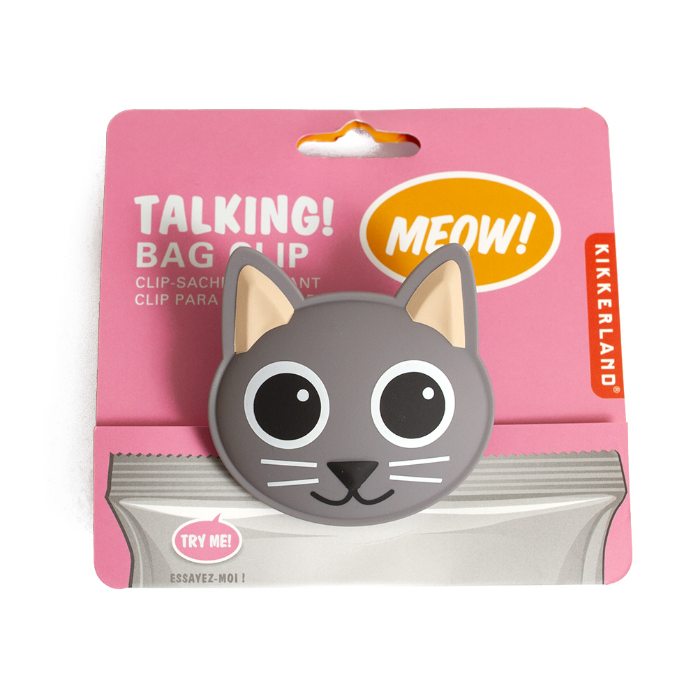 Kikkerland, Bag Clip, Talking, Cat