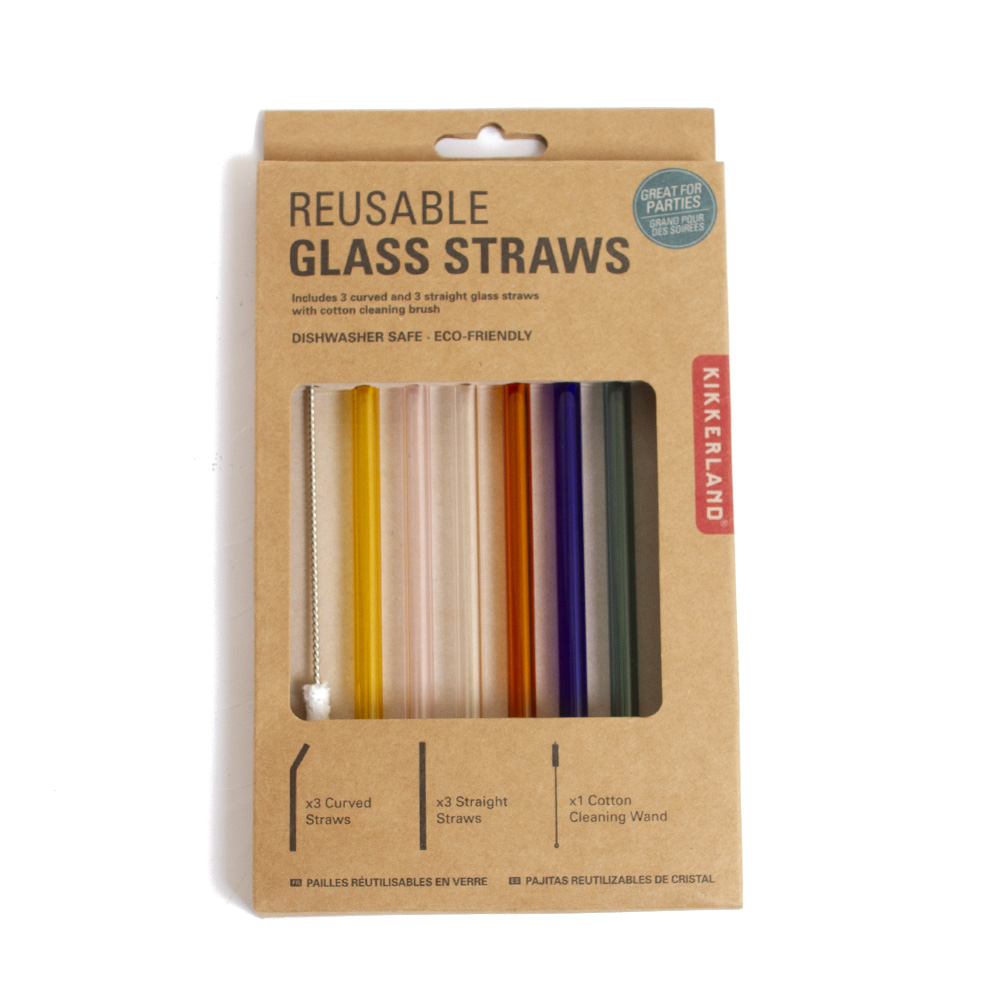 Kikkerland, Reusable, Glass, Straws
