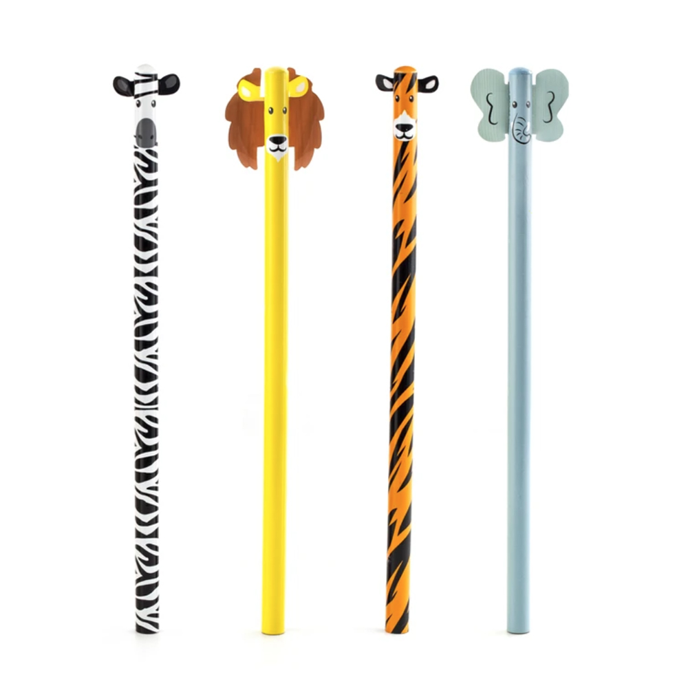Kikkerland, Safari Animal, Pencil Set. 4 Count