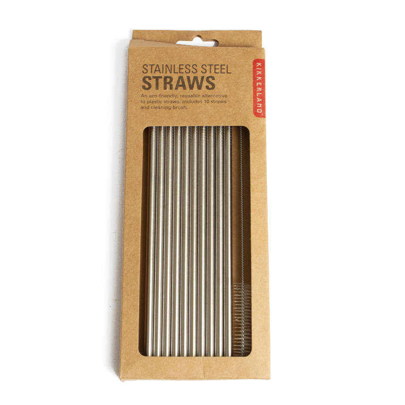 Kikkerland Stainless Steel Straw 10 Pack
