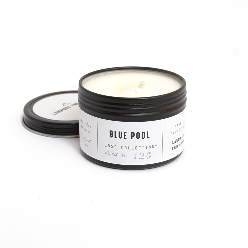 Landmark Fine Goods, Candle, 4 ounce, Blue Pool