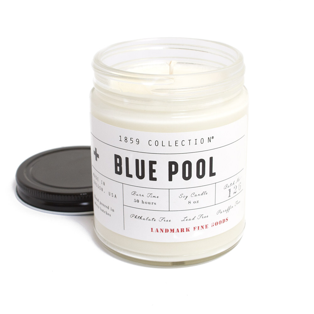 Landmark Fine Goods, Candle, 8 ounce, Blue Pool