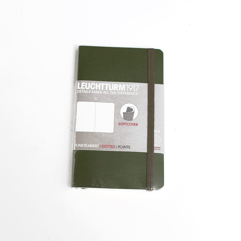 Leuchtturm, Pocket, Softcover, A6, Dotted, Army