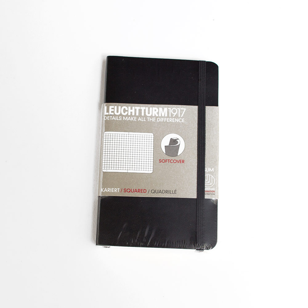 Leuchtturm, Pocket, Softcover, A6, Squared, Black