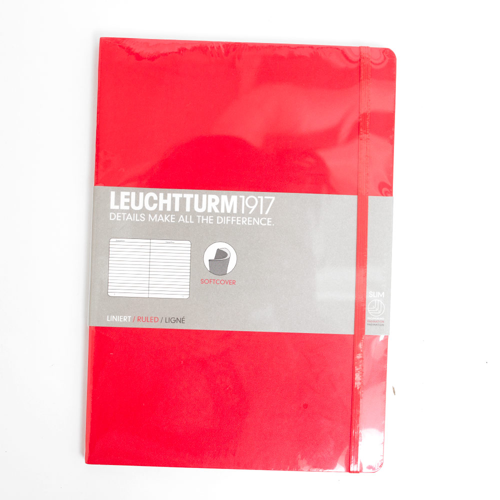 Leuchtturm, Softcover, Composition Book, B5, Ruled, Red