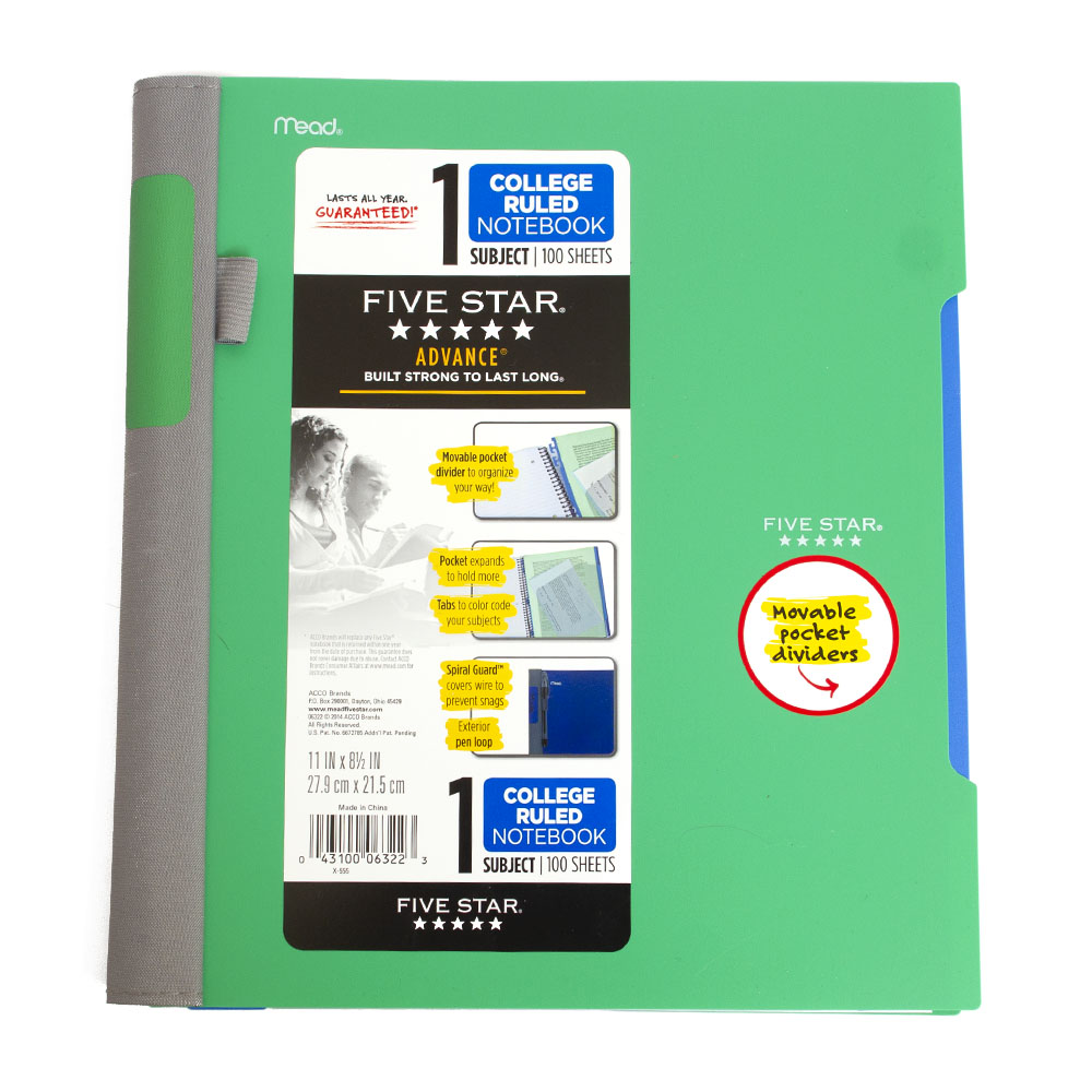 Mead, 5 Star, 1 Subject, Spiral, Notebook, Advance