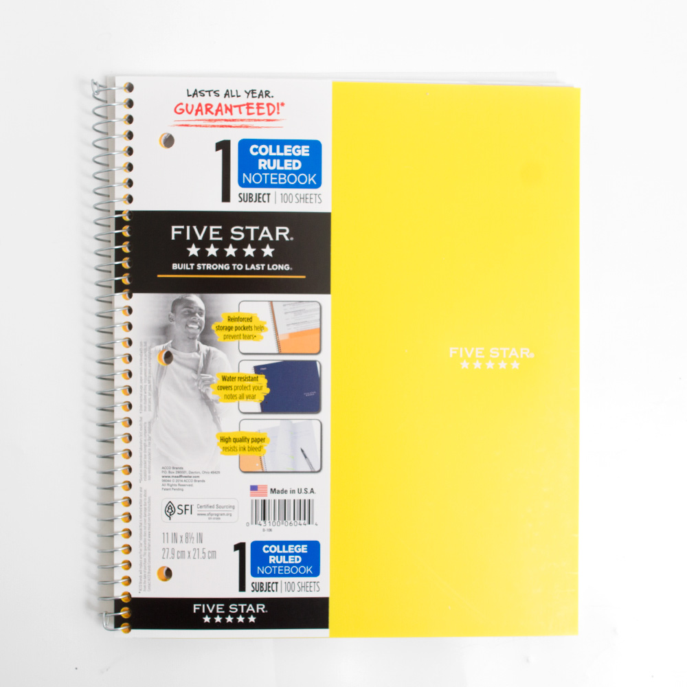 Mead, 5 Star, 1 Subject, Spiral, Notebook