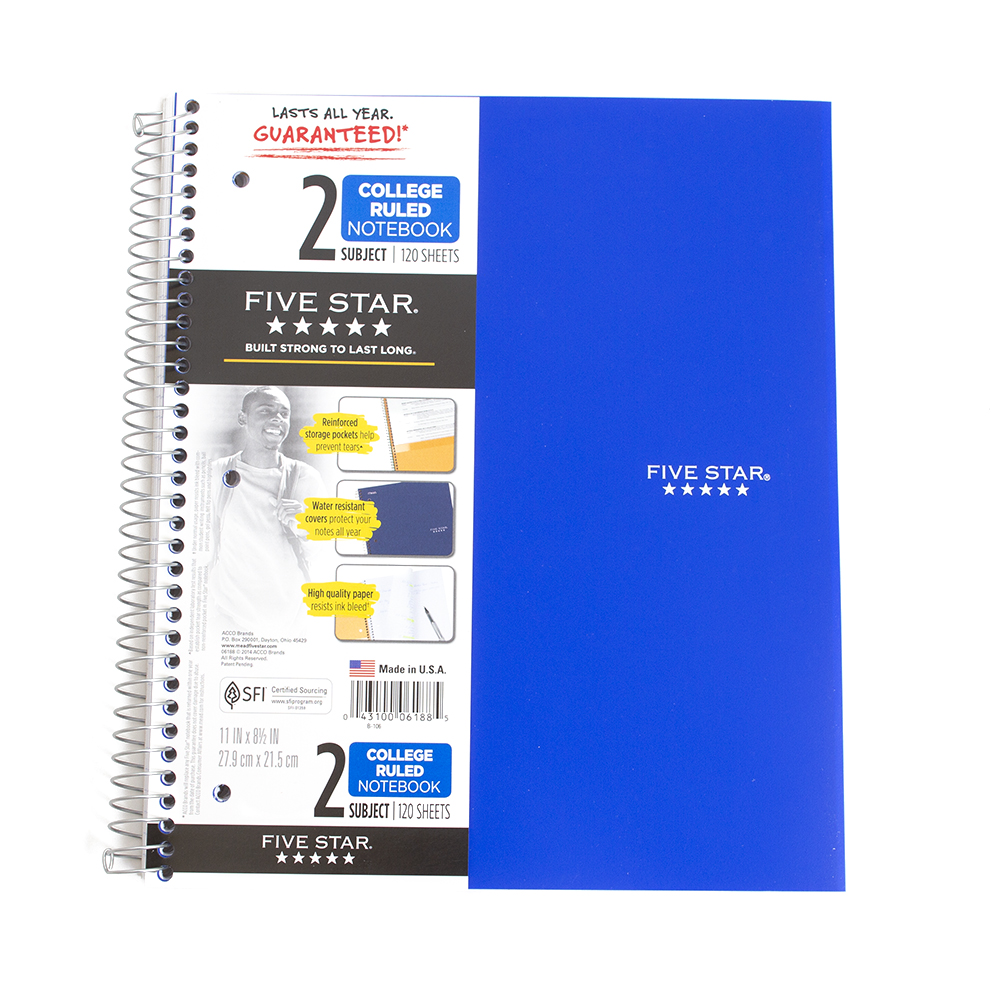 Mead, 2-Subject, 5 Star, Notebook
