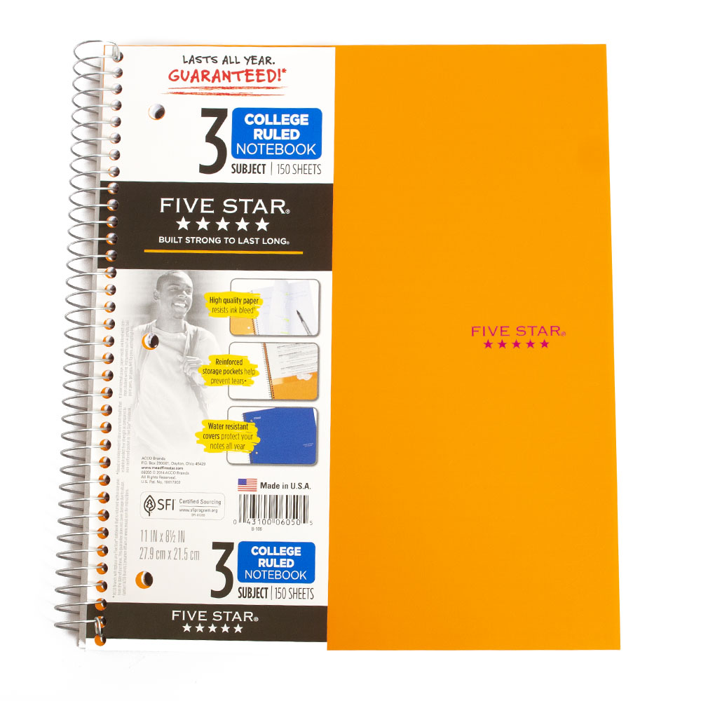 Mead, 5 Star, 3 Subject, Spiral, Notebook, Trend