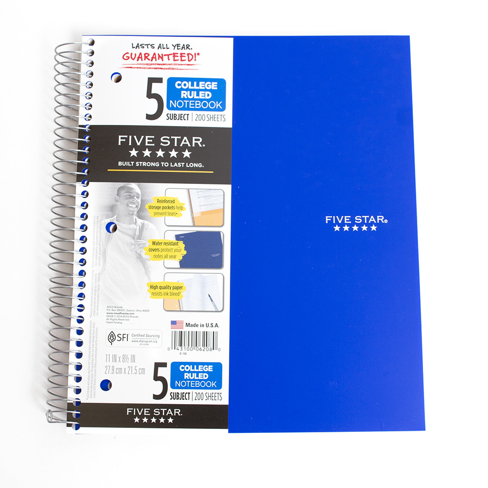 Mead, Five Star, 5-Subject, Spiral, Notebook