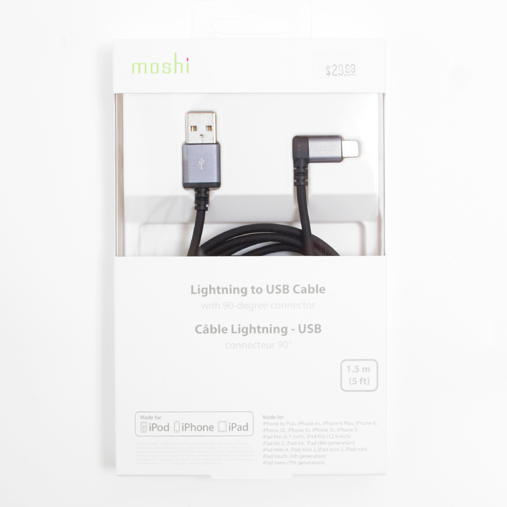 Moshi, USB Cable, 90-Degree, Lightning Connector, Black