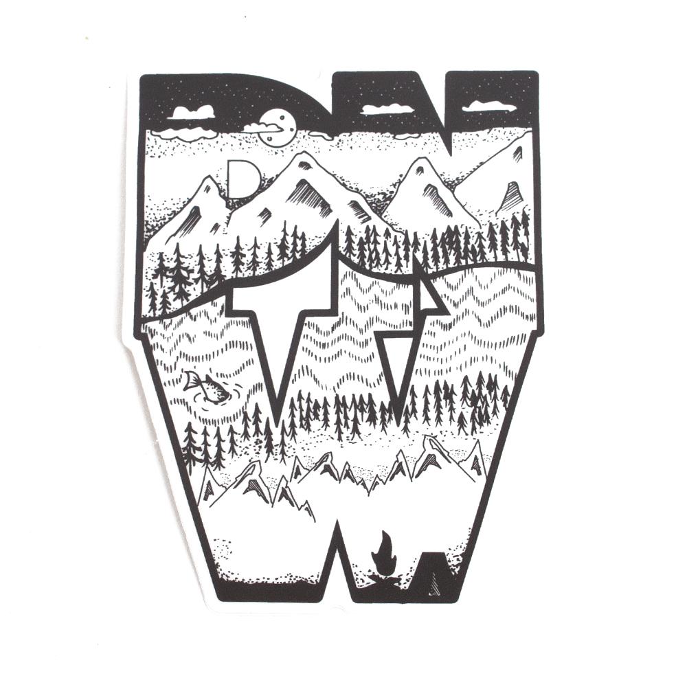 Sticker, Northwest Theme, Block Mountain, Sketch, PNW