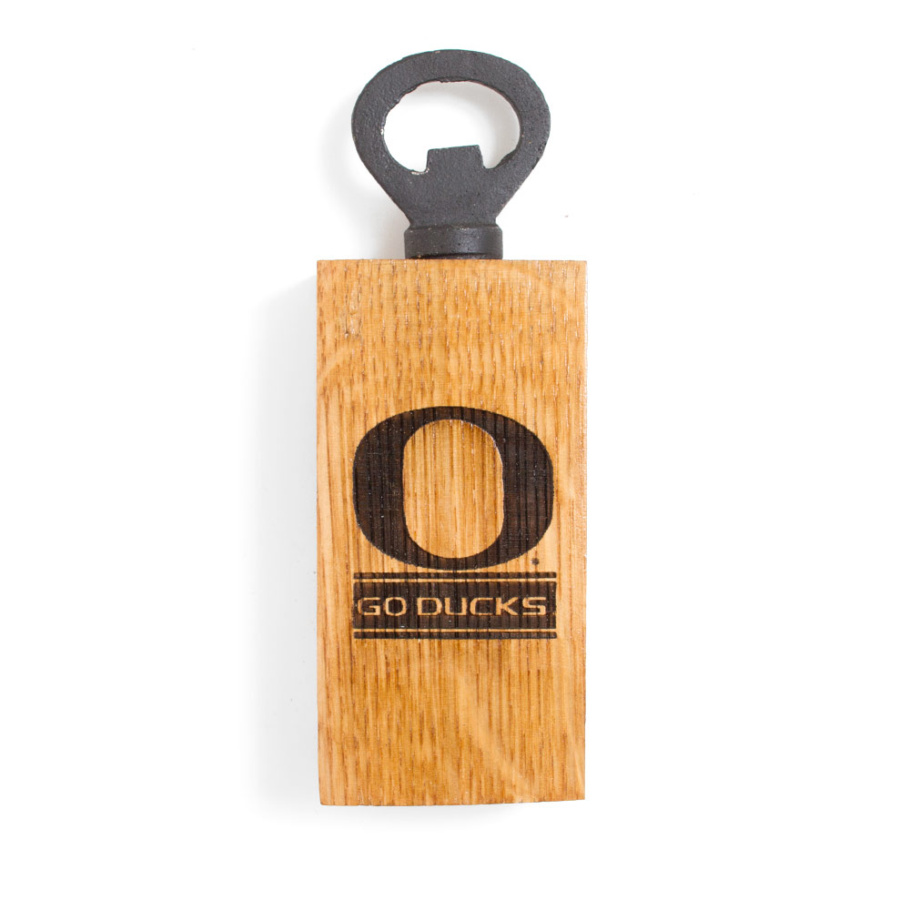 Classic Oregon O, Go Ducks, Barrel Stave, Mini, Magnet, Bottle Opener