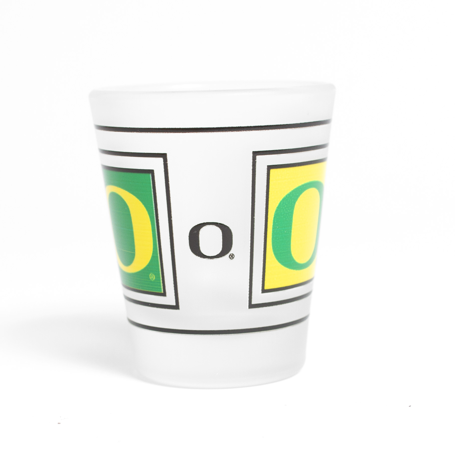 O-logo, 1.5 ounce, Frosted, Glass, Shot, Reverse Side