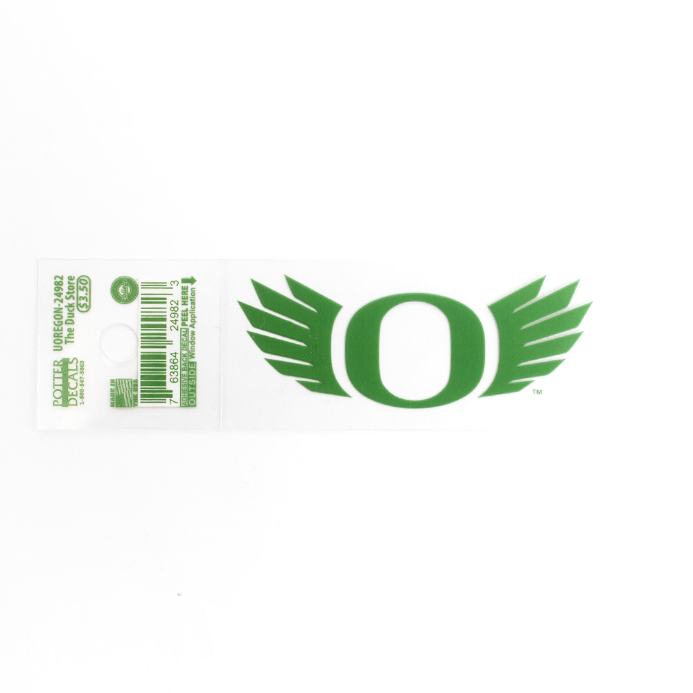 O-logo, WINGS, 3 inch, Decal, Outside Application, Kelly Green