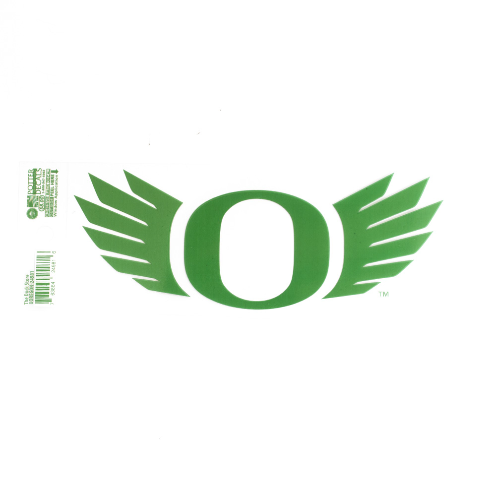 "O-logo, WINGS, 7"", Decal, Outside Application, Kelly Green"