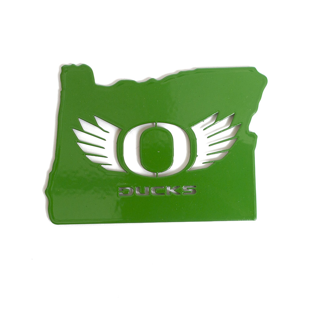 Classic Oregon O, O Wings, Metal, Powder Coated, Magnet, State of Oregon, Green