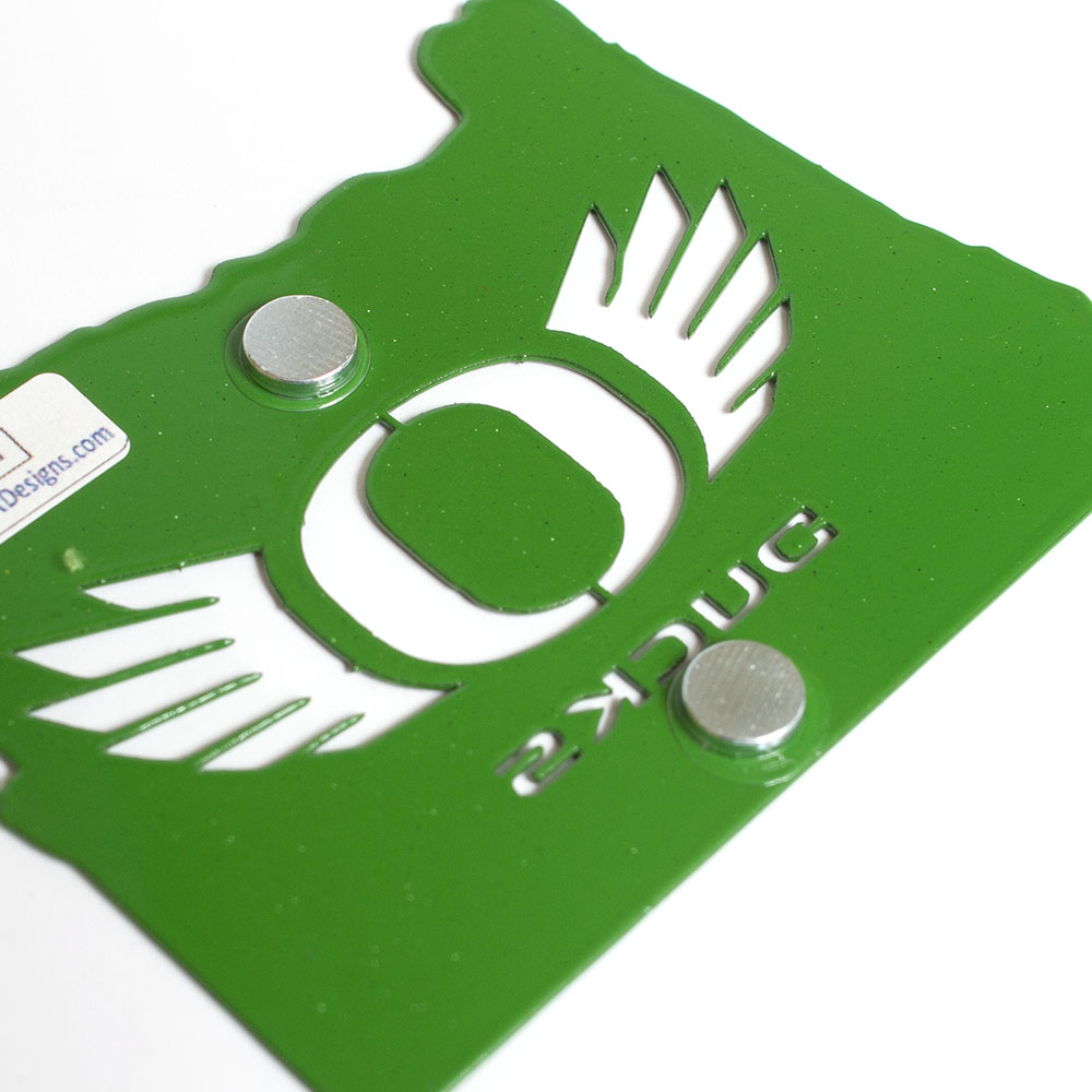 Classic Oregon O, O Wings, Metal, Powder Coated, Magnet, State of Oregon, Green, Back