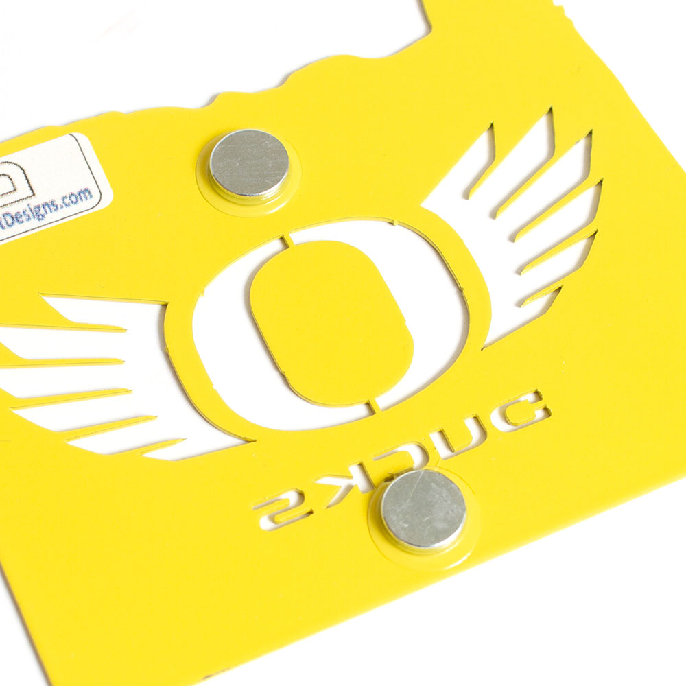 Classic Oregon O, O Wings, Metal, Powder Coated, Magnet, State of Oregon, Yellow, Back
