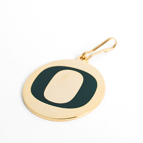 Classic Oregon O, Gold & Green, Zipper, Pull, Keychain