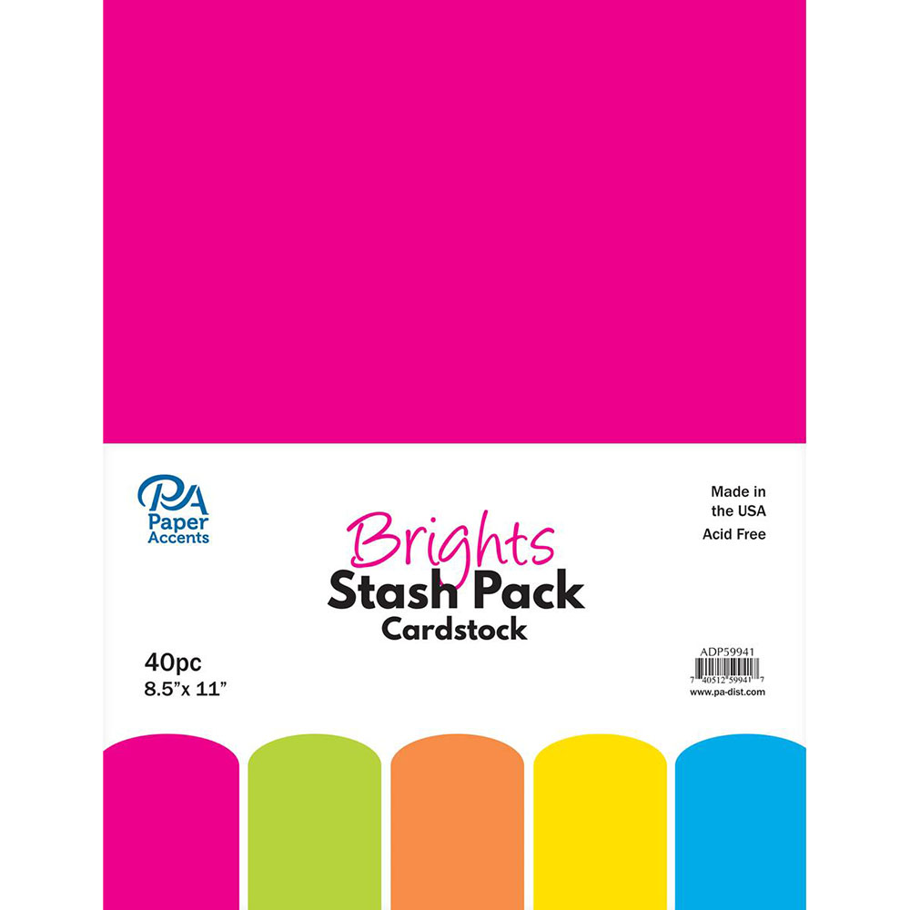 Paper Accents, Cardstock, Brights, 40 piece